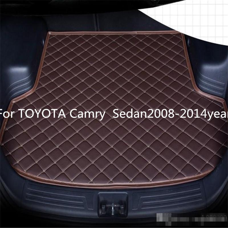 Für TOYOTA Camry Sedan2008-2014year s Auto-Anti-Rutsch-Trunk Mat wasserfestes Leder Teppich Auto-Kofferraum-Matte Flat Pad