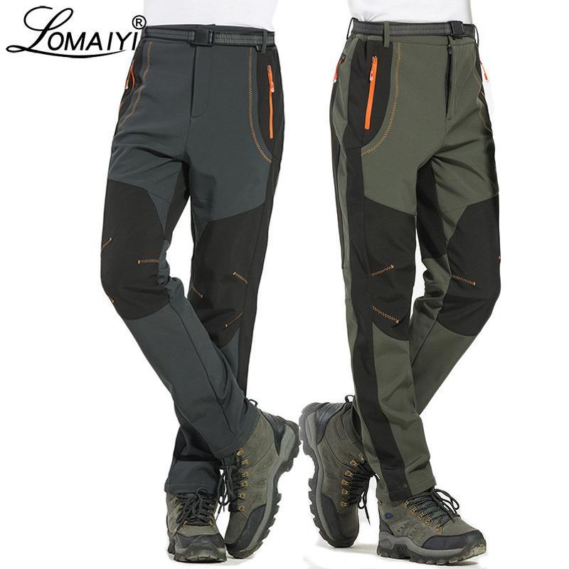 LOMAIYI 5XL Men's Warm Winter Men Fleece Lining Cargo Mens Waterproof Trousers Male Stretch Casual Work Pants AM110 Y190422
