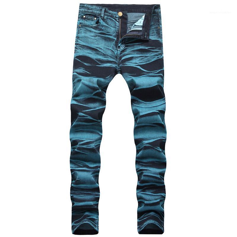 Jeans Designer metà di vita L'uomo pantaloni lunghi Moda Hemme jeans blu lavato con Cerniera Man Matita