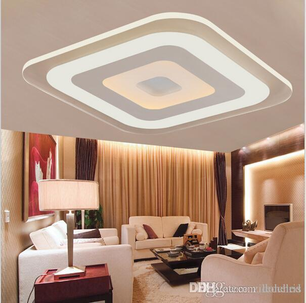Modern Minimalist Square Led Ceiling Lights Acrylic Ultra-thin Ceiling Chandeliers for Living Room Bedroom AC85-265V
