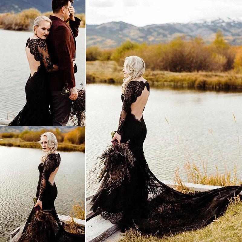 Classic Lace Black Gothic Mermaid Wedding Dresses 2020 Long Sleeve Backless Custom Made Bridal Gown Chapel Train