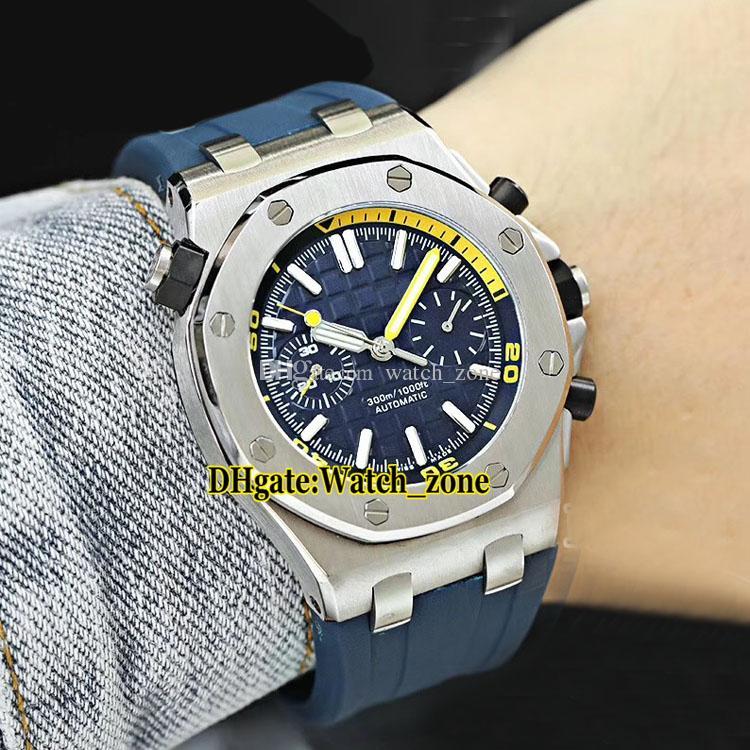 Royal Diver 26703ST.OO.A027CA.01 Blue Dial Automático Mens Watch Siver Caso de Alta Qualidade Sapphire Vidro Azul Pulseira De Borracha Gents Relógios 42mm