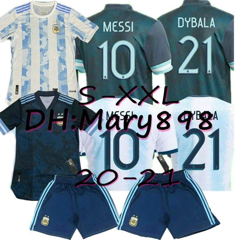 2020 Argentina Soccer Jerseys Spieler # 10 Messi Soccer Hemd 19/20 Copa América Away # 9 Aguero # 21 Dybala # 22 Lauteraro Fans Fußballuniformen