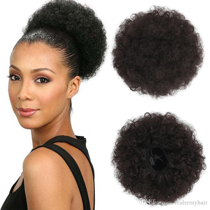 Afro Kinky Curly Hair Bun Wrap Drawstring High Puff Ponytail Short Updo for Natural Hair With 2 Clips #4