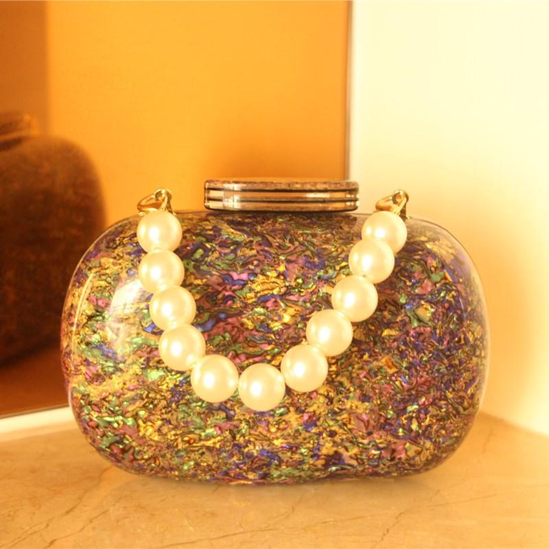 Colorido oval acrílico Bolsas únicos del día del embrague de la personalidad mujeres de los bolsos de hombro Cadenas partido de tarde Embragues bolsos de baile