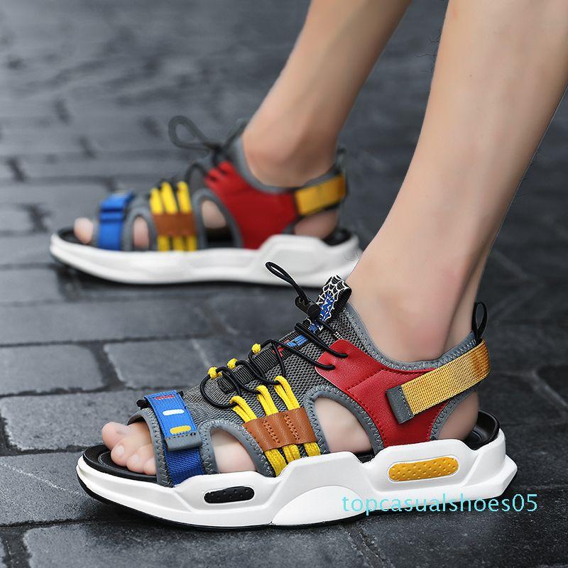 Sandales d'été Hommes Outdoor Mesh Plage respirant Hommes Chaussures Confort Enfilez bout ouvert Sport Sandalias Hombre Chaussures Homme Casual T55