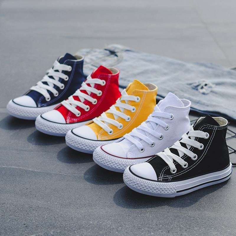 Kids Shoes For Girl Baby Sneakers 2020Fashion High Toe Canvas Toddler Boy Shoes Children Classical Girls Canvas Skateboard shoes