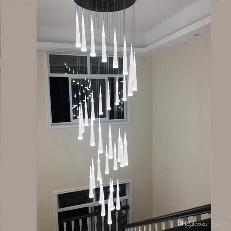 LED Scala moderna Lampadario a soffitto Illuminazione interna a lungo Stair Lampadario Lampada a sospensione Lampadari a sospensione apparecchi LIGHT