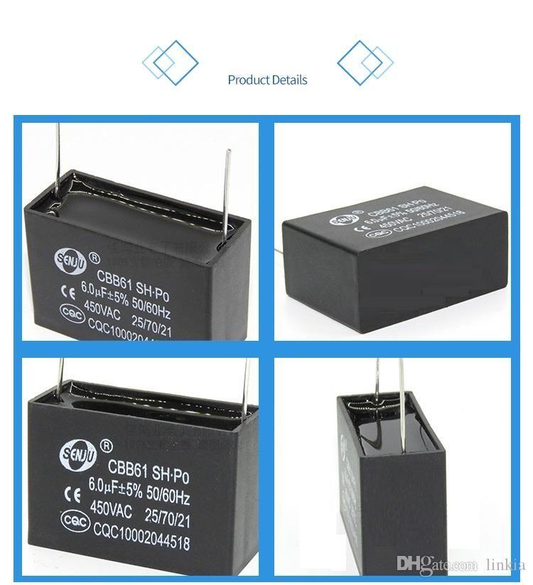 CBB61 pin Kondensator 1uF 1.2uf 1.5uf 2UF 2.5uf 3UF 3.5uf 4uF 5uf 6uf 8UF 10uF 450VAC Klimaanlage Ventilator Ausgangskondensator