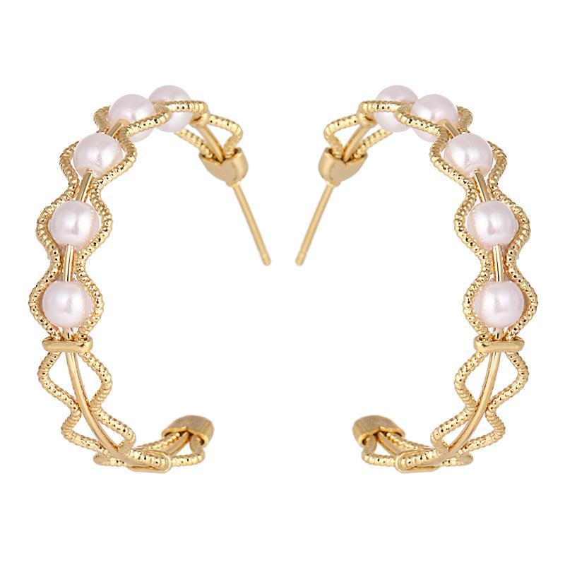 Artisanat à la main couleur d'or plaqué fil fleur dentelle demi-cercle oreille boucles d'oreilles perles d'imitation de perles Boucles d'oreilles pour les femmes