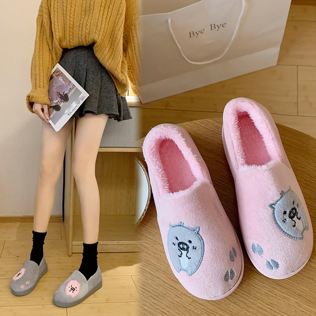 Karikatür Yumuşak Kadın Terlik Kış Moda Kapak Topuk Ladies Home Kapalı Kış Sıcak Casual Yatak Odası Ayakkabı Chaussures Femme