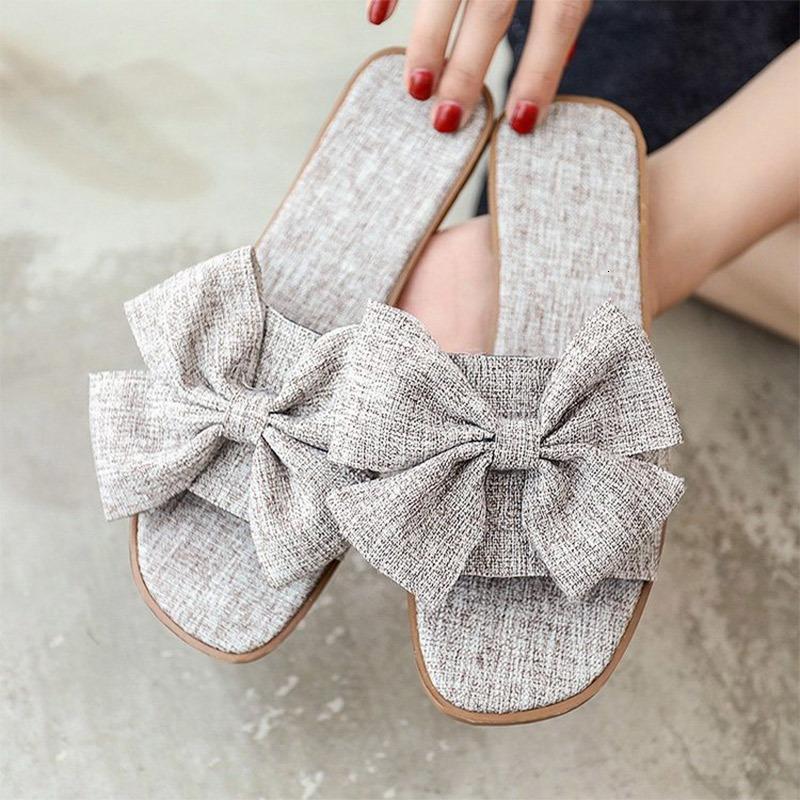 Kızlar Açık Düz Slaytlar Sweet Big Bow-düğüm Tasarım Terlik Bayanlar Yumuşak Alt Terlikler Kadın Yaz Casual Beach Ayakkabı
