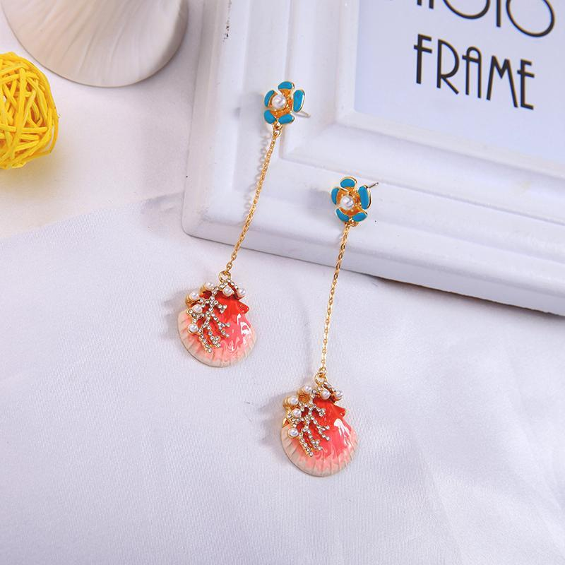 Kissme Cute Red Enamel Shell Drop Earrings for Women Gifts Unique Crystal Acrylic Pearl Coral Ear Pin Gold Color Fashion Jewelry