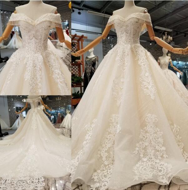 2019 más nuevos vestidos de novia de lujo fuera del hombro perlas glitter lentejuelas de encaje de encaje apliques corsé de nuevo más vestidos de novia tamaño