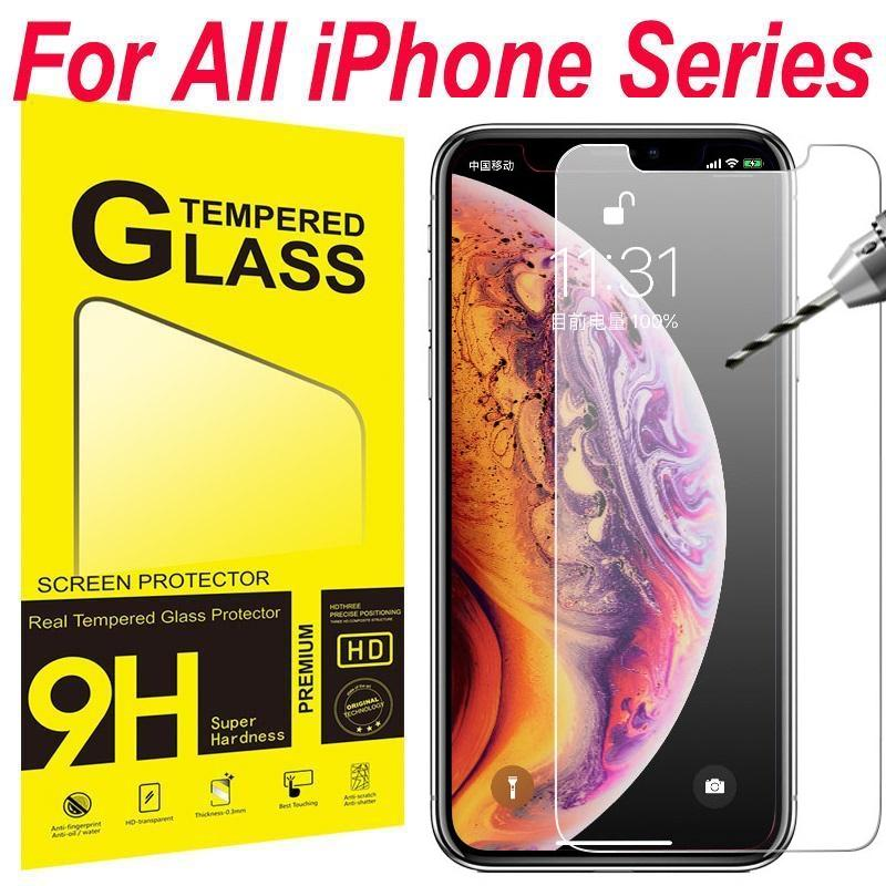Pellicola proteggi schermo temperato Film per iPhone 6 6S 7 8 Plus X XR XS 11 12 Mini 13 Pro Max Samsung Android Phone con pacchetto al dettaglio