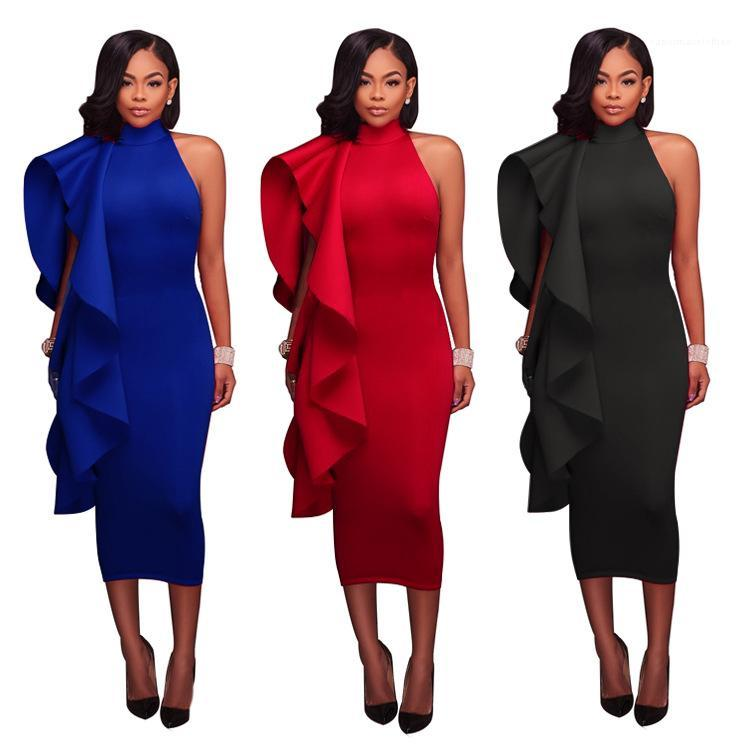 Zipper Vestidos Designer Sexy Partido Mulheres Casual Vestidos Feminino Vestuário Hot Mulheres Verão Vestidos Ruffle luva