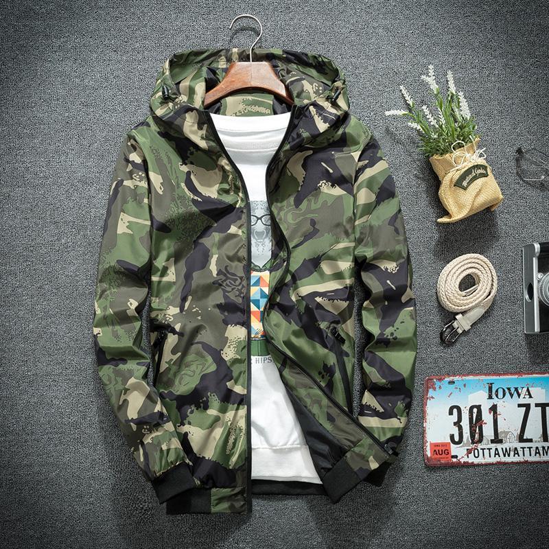 Otoño del verano al aire libre protector solar hombres con estilo Camou la chaqueta con capucha de la cremallera Escudo rompevientos Outwear Deporte Climbwear camuflaje verde
