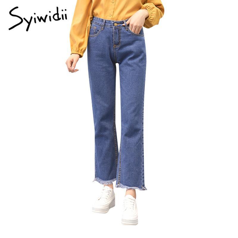 pantalones vaqueros rectos de cintura alta mujer borla pantalones de mezclilla pantalones vaqueros dropshipping más el tamaño de algodón 2019 nuevo Washed Woman azul