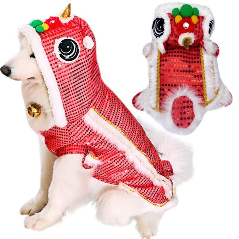 Vestiti del cane Pet Dog Inverno caldo stile cinese Capodanno Dragon Dance Paillettes Makeover divertenti abiti rossi fortunato Cosplay Costumen