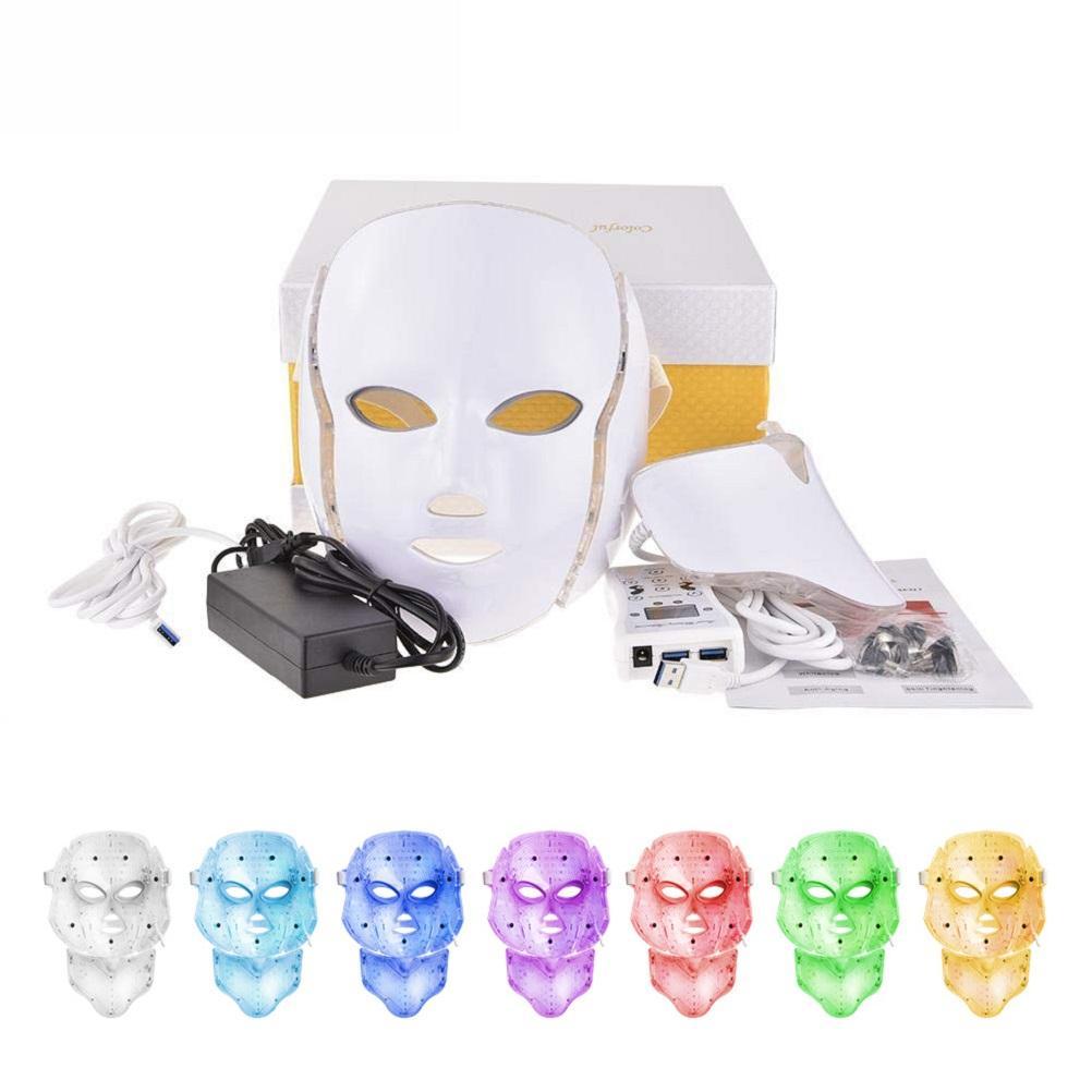 7 ألوان بقيادة قناع الوجه مكركرنت LED الفوتون العلاج آلة العلاج بالضوء حب الشباب قناع مع آلة الرقبة ادى الجمال
