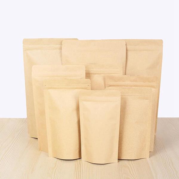 Pochette en aluminisation Kraft Brown de 1000 pcs, support de papier d'aluminium de papier kraft de papier kraft Sac de serrure zippée refermine joint de gripe alimentaire en gros DHL