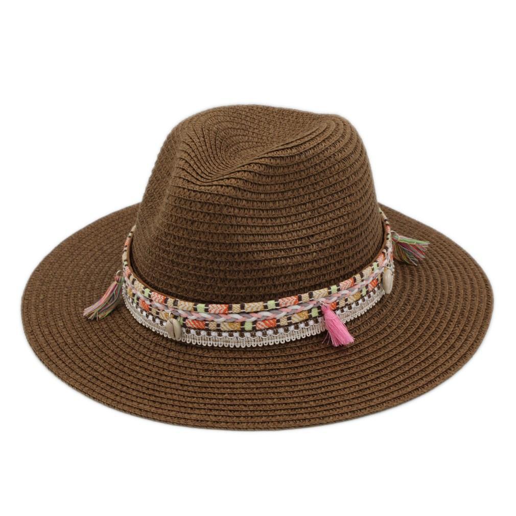 Plastic Straw Cap Frühling-Sommer-Party-Straße Outdoor-Strand Sonnenhut Floppy Wide Brim Hat Panama Jazz-Liebhaber Top Chapeau mit Weave Blet Band