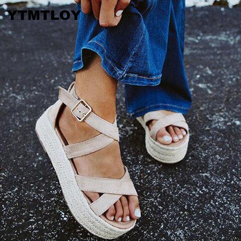 Sandalet Kadınlar takozları Ayakkabı Yüksek Topuklar 2019 Flip Flop Chaussures Femme Platformu Sandalia Feminina Platformu Yaz pompaları