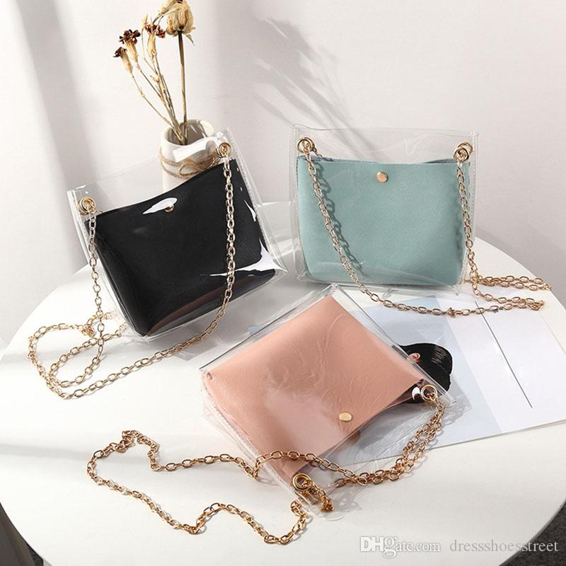 Mulheres Composite sacos transparentes Shoulder Bag cadeia de metal magnéticos Bolsas Buckle PU Bolsa presente Moda Bandoleira para mulheres