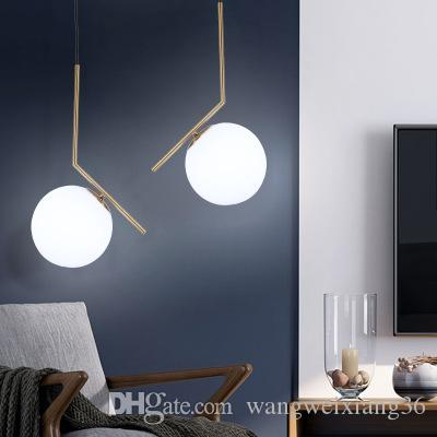 Modern Led Wooden Hanging Lamp Frosted Glass Lampshade Livingroom Bedside Nordic Pendant Lights Fixture Wood Droplight Iron Rod