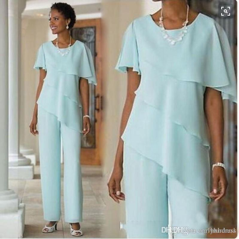 2019Mint Green Mother of the Bride Dresses Pants Suits Wedding Guest Dress Chiffon Short Sleeve Tiered Mother of Bride Pant Suits
