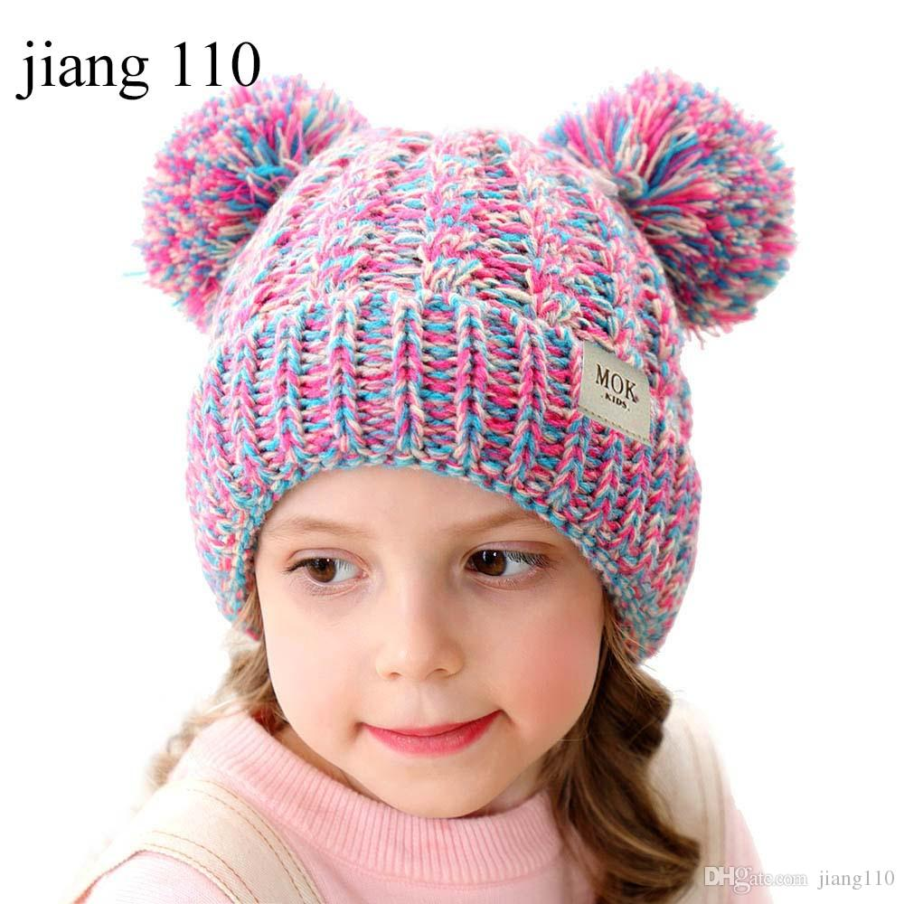 Children cute crochet hats solid pure color baby girls and boys knitting caps kids winter warm hat