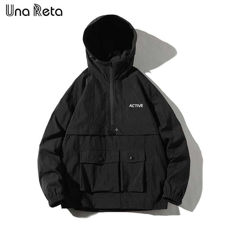 Una Reta Hip Hop Ceket Kaban Erkek Kapşonlu Rüzgarlık Ceket Sonbahar Yeni Casual Harajuku Gevşek Hoodie Ceket Palto Streetwear Man V191128