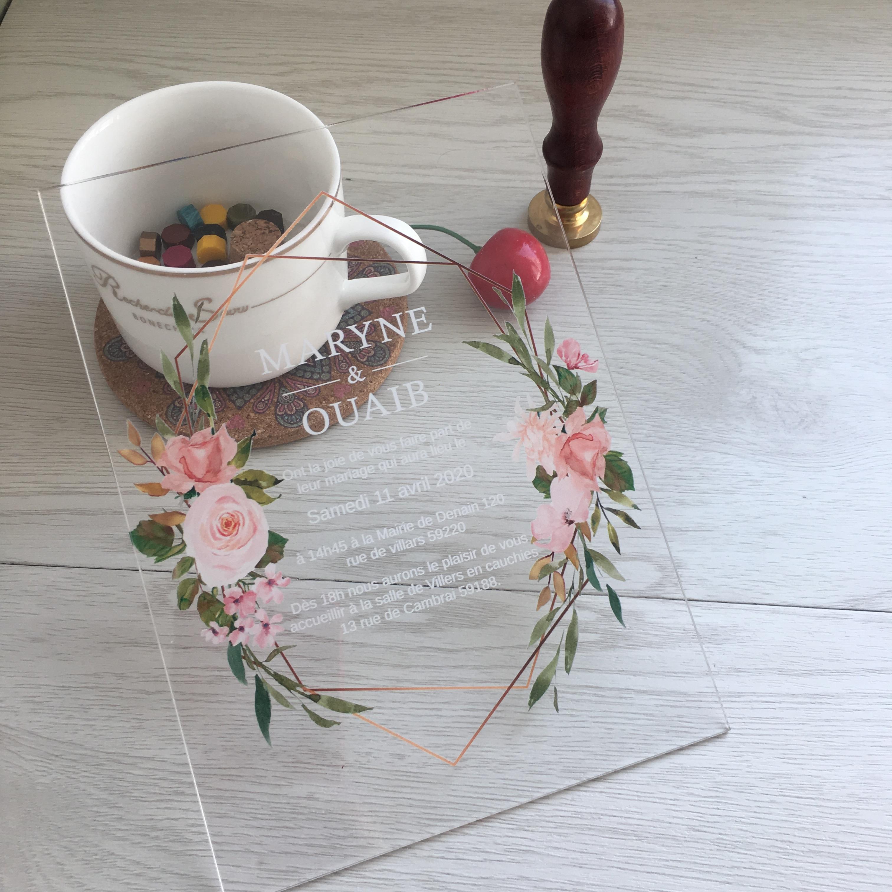 Elegante romantische 10pcs Einladungs-Karte Wedding Fancy Benutzerdefinierte bunten Drucken-Blumen-Einladungen Großhandel Andere Event-Party Supplies