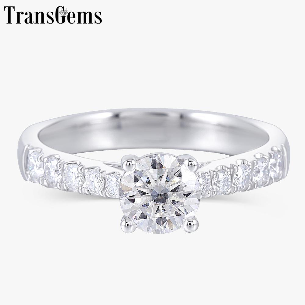 Transgems Festes 14K 585 White Gold 0.6ct 5.5mm F Farbe Moissanite Verlobungsring für Frauen Wedding Gift S200110
