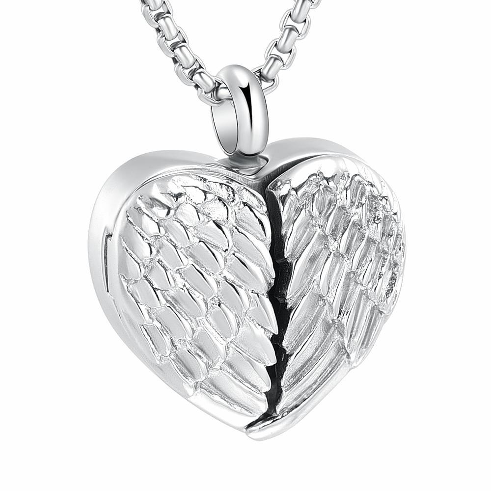 Кремация Урна кулон ожерелье Держите Пепел - Engravable Openable Angel КРЫЛО Для фото близких / Домашние животные всегда в моем сердце