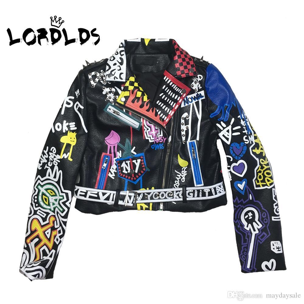 LORDLDS 2019 Giacca in pelle Donne graffiti colorati stampa Biker Giacche e cappotti PUNK Streetwear Abbigliamento