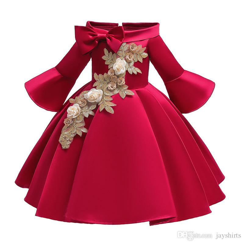 Fille brodé Princesse Robe de soirée Mode filles robe de bal robes de haute qualité Automne Flare manches Robe