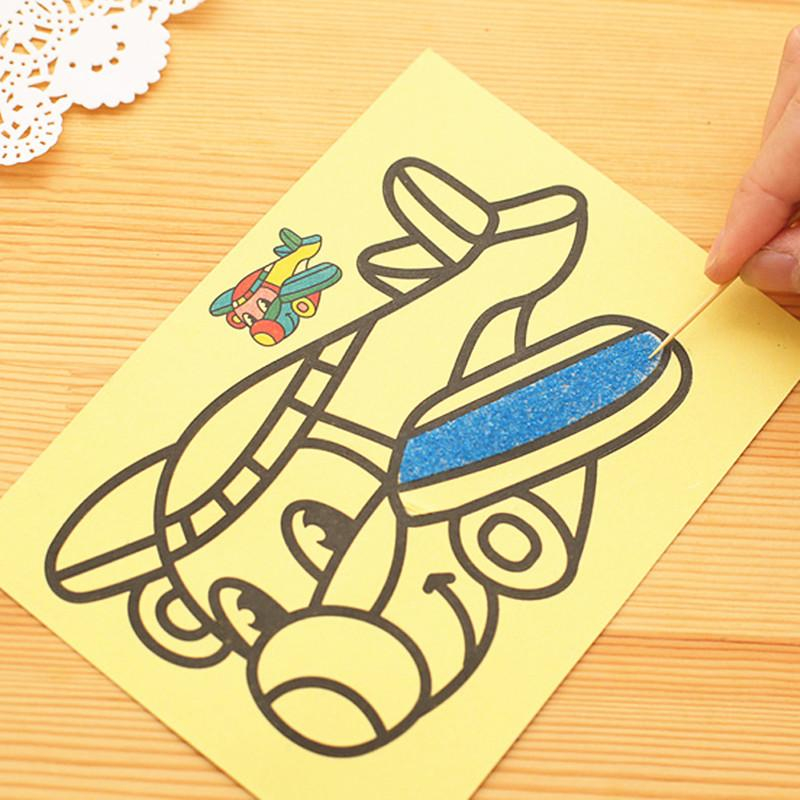 DIY Sand Painting Paper Cartoon Kids Color Art Creative Drawing Montessori Toys Crafts Education for Children Gifts 12X16 CM