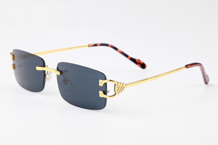 lunettes de soleil de marque de mode en gros rouge pour les hommes 2017 hommes buffle unisexe femmes RIMLESS lunettes de soleil cadre en métal or argent Lunettes de Lunettes