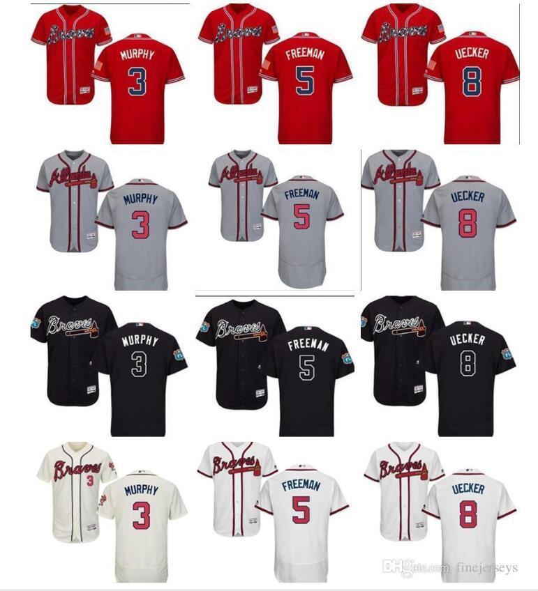 Пользовательские Мужчины Женщины Дети Атланта Брэйвз Джерси 5 Freddie Freeman 8 Боб Uecker 3 Дэйл Мерфи черный красный белый Kid Бейсбол Джерси штраф