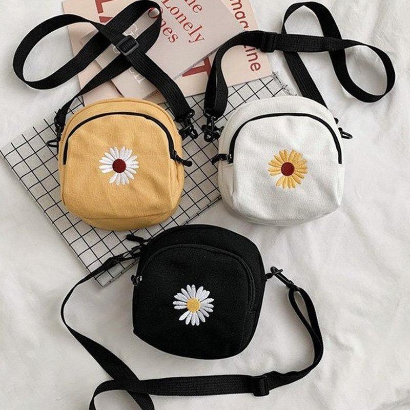 2020 Nuovo Daisy Canvas Bag coreana Moda ricamo spalla signore Phone Bag Ins fresco selvaggio mobile