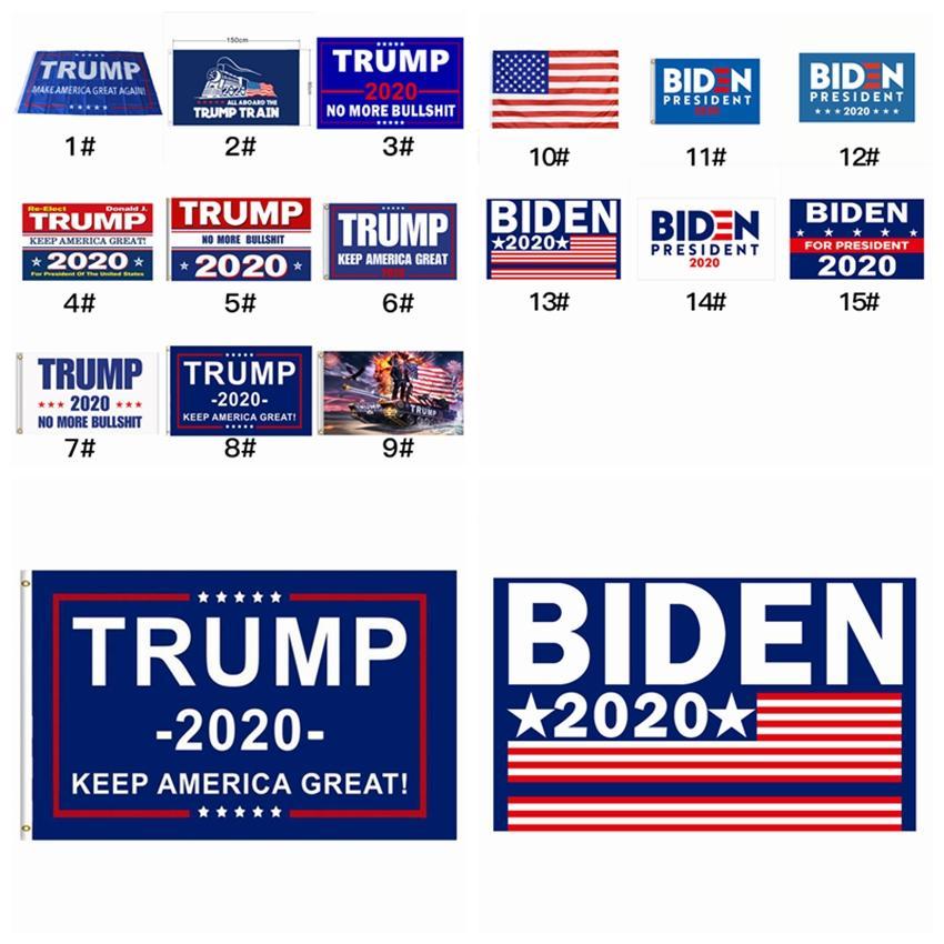15 أنماط أعلام دونالد ترامب 2020 الرئيس الأمريكي إبقاء أمريكا حزب العظمى راية العلم 90 * 150CM جو بايدن الانتخابات العلم ZZA2314 30PCS