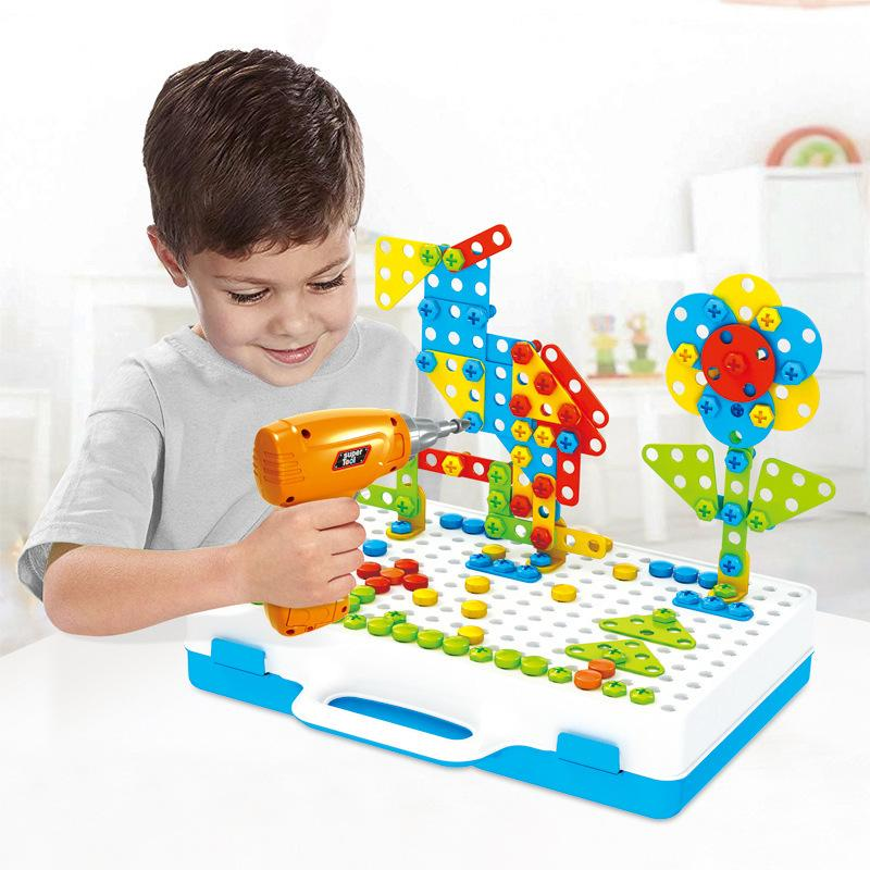Building Blocks Electric Drill Toy For Kids Early Educational Toy Assembled Mosaic Puzzleed Games Pretend Play Toy Children Gift Y200413