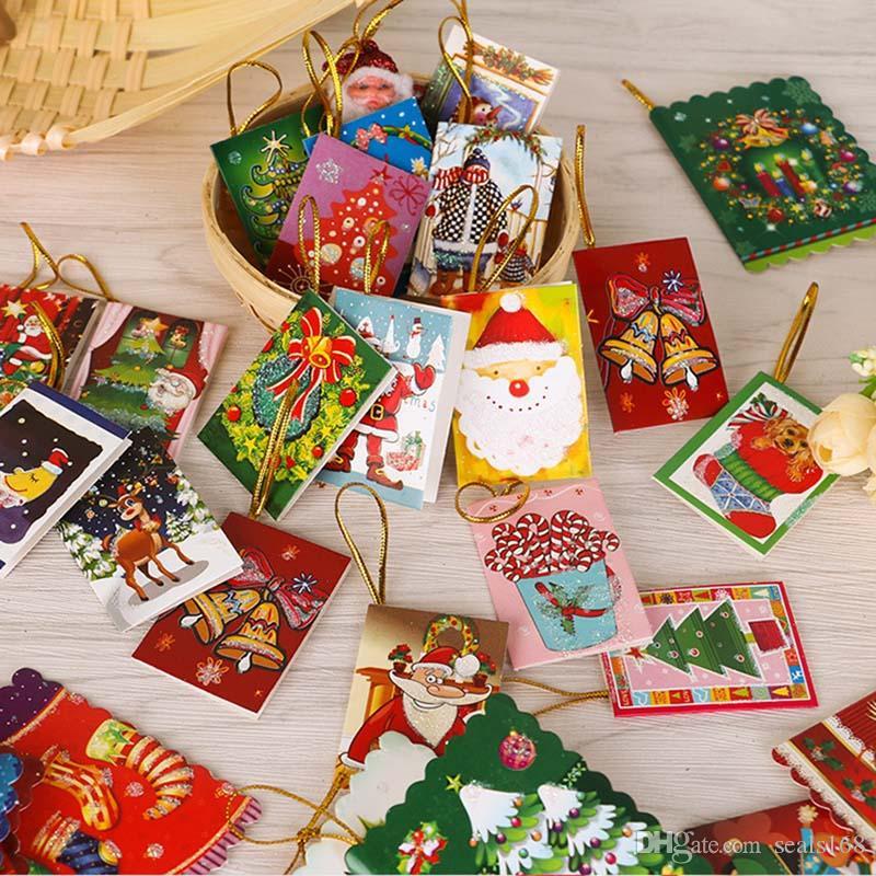 10PCS / حزمة عيد الميلاد سانتا كلوز البسيطة بطاقات معايدة بطاقة رسالة عطلة مباركة بطاقة شجرة عيد الميلاد الشنق الحلي ديكور HH9-2567