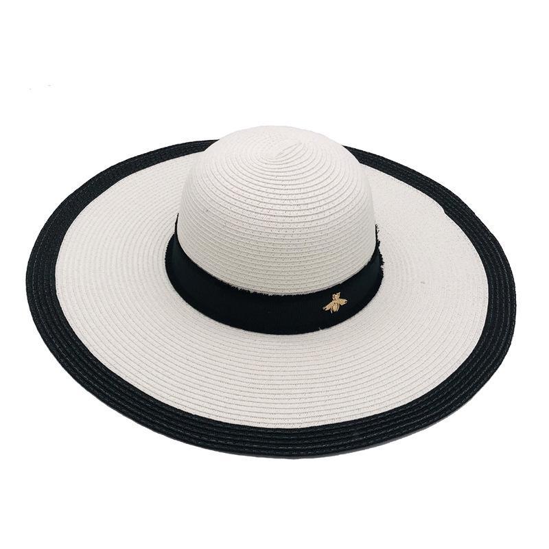 أسود أبيض النحلة الصغير شاطئ هات جديد أزياء الصيف شارع أغطية الرأس لامرأة قابل للتعديل القبعات النسائية كاب 2 الألوان أعلى جودة