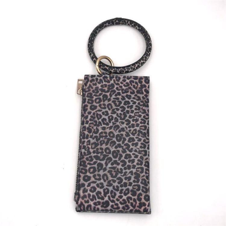 Leopard Leather bracelet Key Chain Plaid Buffalo wallet PU Wrist Round Tassel Pendant Wristbands Keychain Bracelets clutch bag TTJJ30