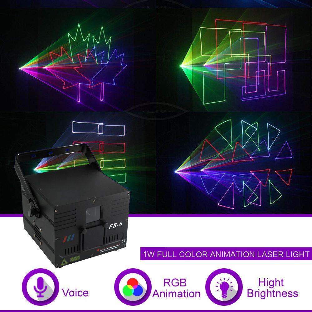 1W DMX512 ILDA RGB الرسوم المتحركة شعاع نمط ليزر العارض الضوء DJ حزب مشاهدة الحفلة ملهى ليلي المهنية المرحلة إضاءة FB6