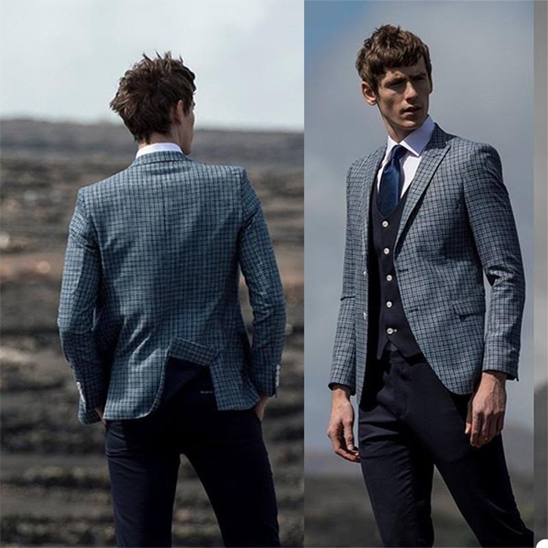 Smokin İş Suit 2020 İngiliz Leisure Gentleman Erkek Takım Elbise 3 adet İki Düğme (+ Siyah Yelek + Siyah Pantolon Mavi Ekose Coat)