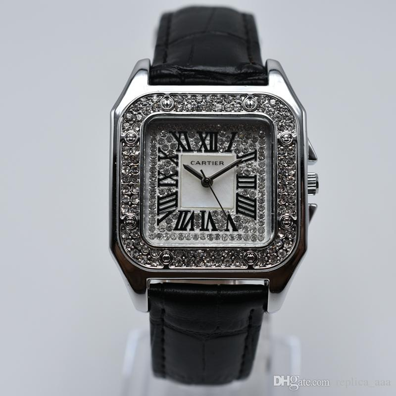 Dropshipping кварц кожи группа алмазов роскошных женщин платье дизайнера часы аналог романский цифровые женские золотые часы оптом женские часы