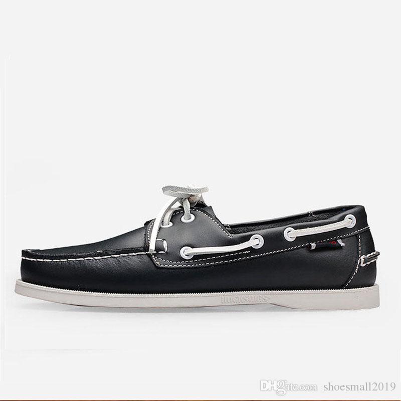 Männer Bootsschuhe neue Art und Weise Docksides Schuh-echtes Leder-Frühlings-Herbst-Slip-on flache Schuhe 6 # 23 / 20D50